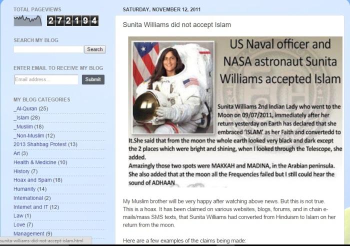 Sunita williams hoax