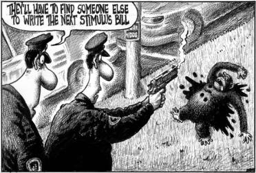 Obama cartoon - stimulus bill
