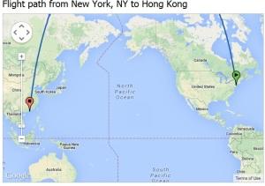 Flight path HK-NY