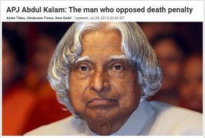 APJ Abdul Kalam opposed death penalty