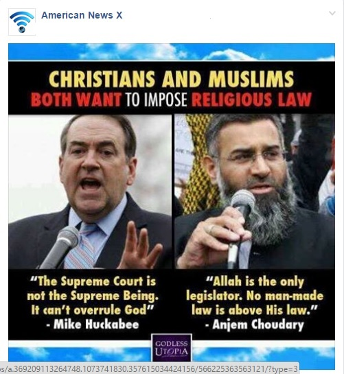 Christian Muslim Gods legislating
