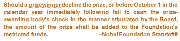 Nobel prize statue on declining a prize