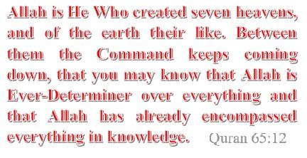 Allah created seven heavens