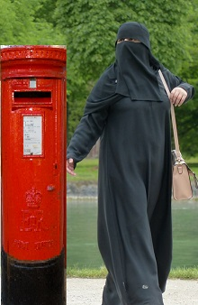 Burkha woman and mail box